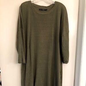 Green Linen Sweater Tunic